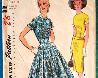 """Vintage 1950s drop waist dress with slim or full skirt sewing pattern - Simplicity 4993 - plus size 18 (36"""" bust, 30"""" waist, 39"""" hip) - 1954"""
