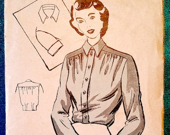 """Rare vintage 1940's short or long sleeved blouse shirt sewing pattern - Weldons 6673 - size 34"""" bust) - late 1940s"""