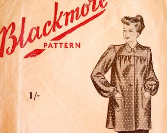 """Rare vintage 1940's smock, tunic with front button closing, collar, pockets sewing pattern - Blackmore Pattern 5748 - size 36"""" bust - 1940s"""