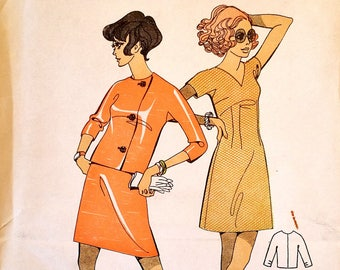 """Rare vintage 1960s slim fitting dress, jacket sewing pattern - Le Roy Weldons 9074 - size 12 (34"""" bust, 25.5"""" waist, 36"""" hip) - 1960's"""