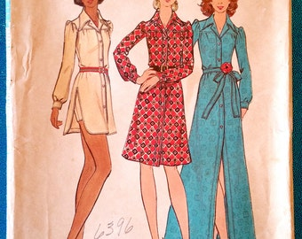 "Vintage 1970's shirtdress and shorts sewing pattern - Butterick 6734 - size 14 (36"" bust) - around 1971"