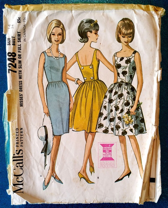 Jahrgang 1960 zurück Knopf hinten Kleid Schnittmuster