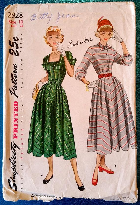 Seltener Jahrgang 1949 Kleid Schnittmuster Einfachheit 2928 | Etsy