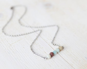 Dainty Amazonite necklace / blue layered necklace / girlfriend gift / gift for her / boho gift for her / layer it with more.