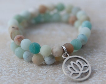 Matte Amazonite yoga bracelet with lotus pendant, natural matte amazonite stone bracelet, light blue stone bracelet / stone bracelet