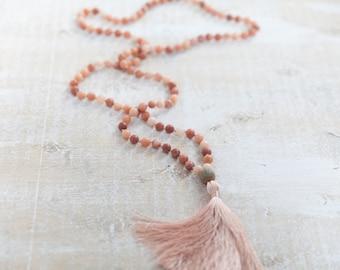 108 Pink Aventurine mala stones / Pink Aventurine Mala necklace /  pink necklace / Hand knotted 108 Pink Aventurine beads with pink tassel