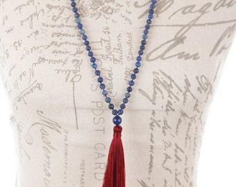 Lapis mala necklace / Matte lapis mala / long tassel boho necklace Lapis Lazuli / Long blue tassel necklace / long  lapis lazuli necklace