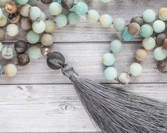 Amazonite tassel necklace / Long earth tassel necklace / Hand knotted Amazonite beads with agate and grey tassel