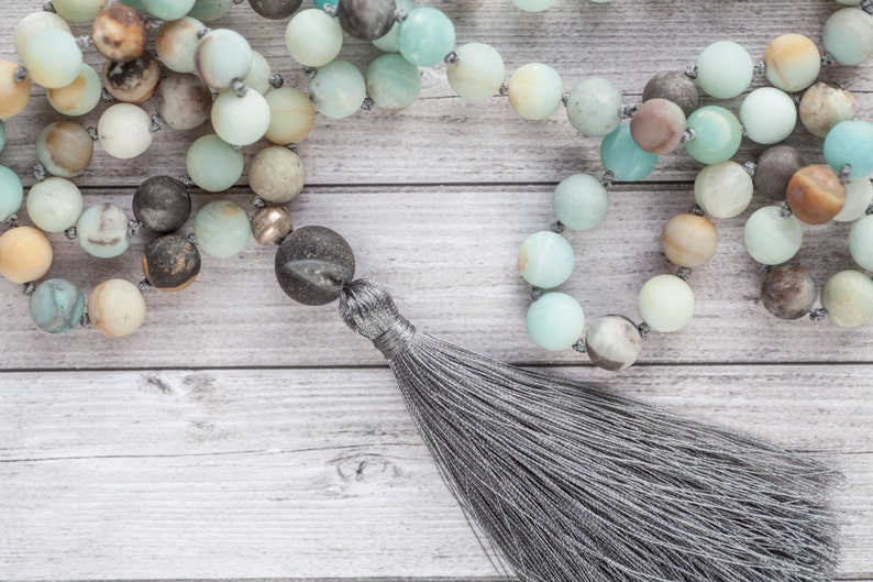 Amazonite tassel necklace / Long earth tassel necklace / Hand image 0