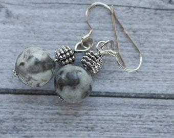 Grey marble earrings, sterling silver ear wires, grey stone earrings