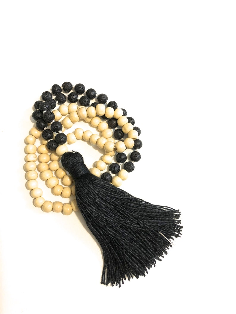 Black and beige Mala necklace 108 wood and lava beads one Guru  light mala necklace  long earth necklace