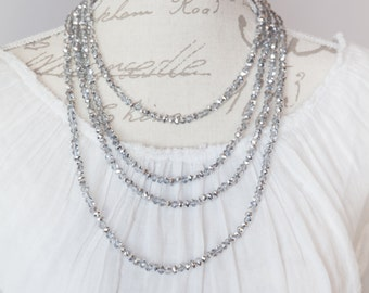 Layered crystal necklace / chic sparkle necklace / great sparkle necklace / shabby chic crystal necklaces / set of 4 crystal necklaces