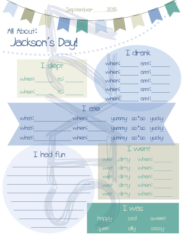 printable nanny log daily infant care sheet babysitter