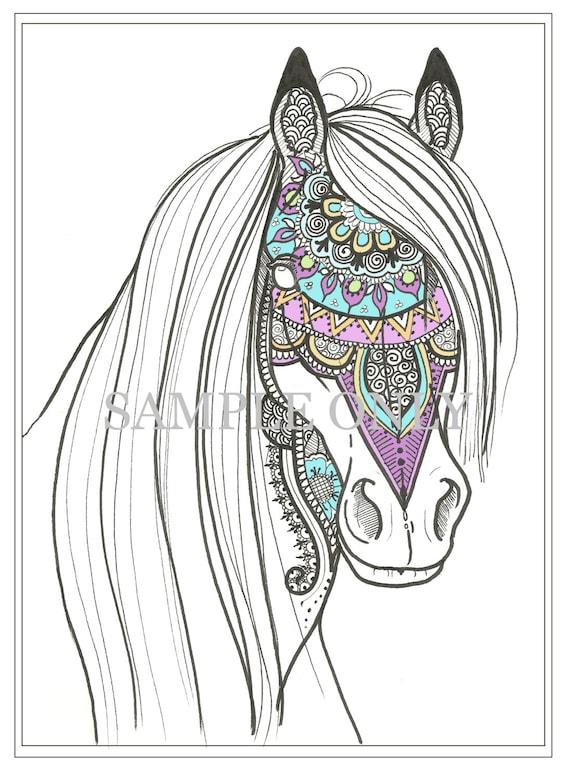 Página para colorear de caballo de henna   Etsy