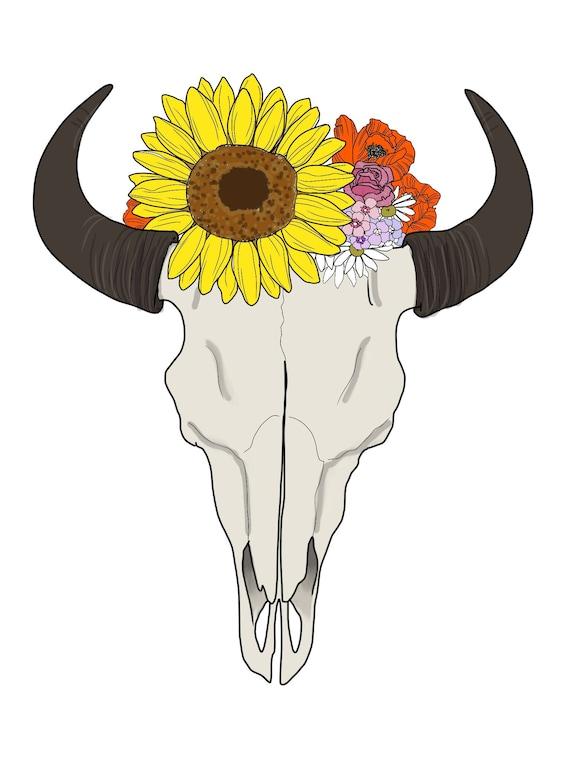 Boho Bison Skull Coloring Page