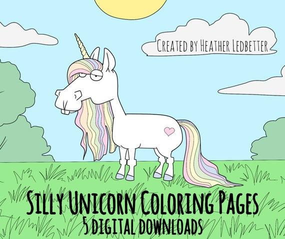 Sciocco Unicorn Colorare Stampabile Pagine 5 Etsy
