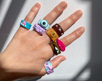 Vintage Jewelry For Women Pretty Ring Lot 9 Rings- Chunky Fun