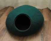 Turquoise Cat Cave. Handcrafted Cat Bed. Natural Wool. Handmade with love.