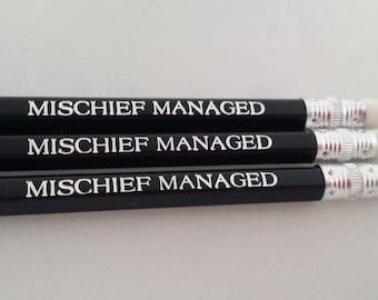 Harry Potter Pencils Mischief Managed Nerd Gift Back to School Spells OOAK