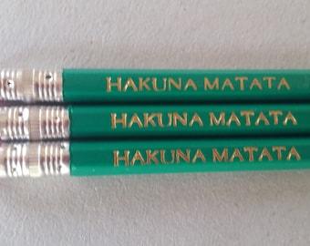 School Pencils Engraved Pencils Hakuna Matata Gift Set of Three Unique OOAK