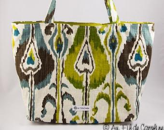 Shopping bag, Market bag, Tote bag, Turquoise, Green, Brown