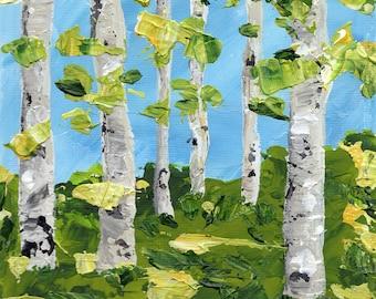 "Aspens in Spring Trio -  Three 5x5"" Original Acrylic Paintings (unframed)"