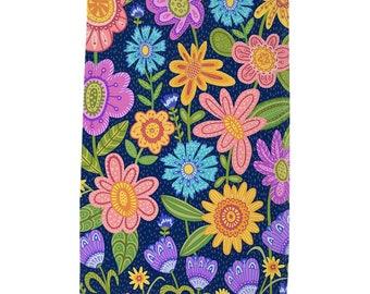 Garden Blooms Tea Towel - Dark