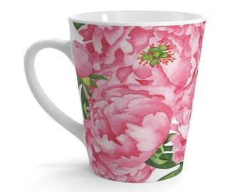 Pink Peonies Latte Mug
