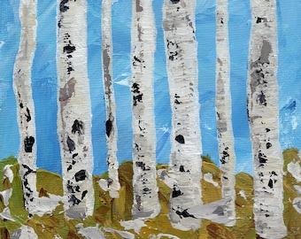 "Aspens in Winter Trio -  Three 5x5"" Original Acrylic Paintings (unframed)"