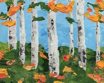 "Aspens in Autumn Trio -  Three 5x5"" Original Acrylic Paintings (unframed)"