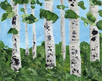 "Aspens in Summer Trio -  Three 5x5"" Original Acrylic Paintings (unframed)"