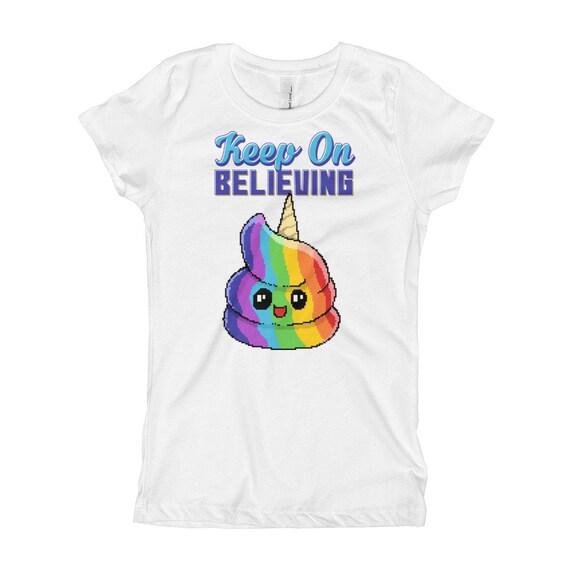 Garder Sur T Shirt Croire Arc En Ciel Merde Emoji Pixel Art De Fille