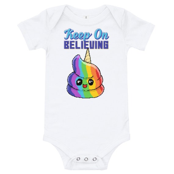 Keep On Believing Poop Emoji Retro Pixel Art Rainbow One Piece Bodysuit