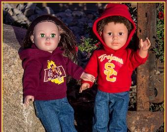 "Custom Doll Hoodies fit like American Girl Doll Clothes or American Boy Doll Clothing, 18"" Doll Arkansas Razorbacks Sweatshirt or Sweatsuit!"