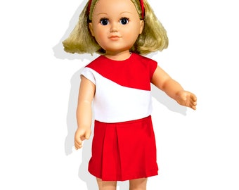Cheerleading Outfits fit like American Girl Doll Clothes, American Boy Clothes & Other 18 inch Doll Outfits. Show your School or Team Spirit