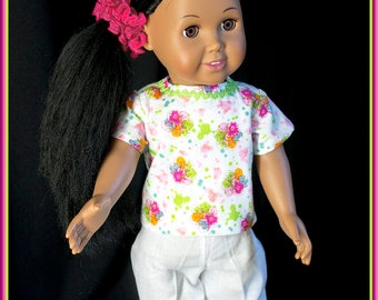 "American Girl Doll Style Nurses Scrubs, Nurse Uniform Flower Print Top w White Slacks; Shoes & Accessories Available for Most 18"" dolls"