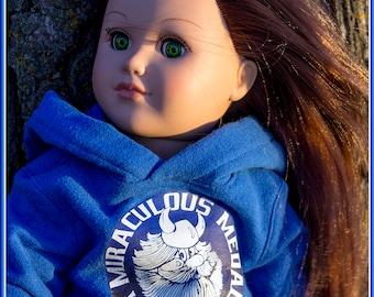 American Made Girl & Boy Doll Clothing, Hoodies, Sweatshirts, Sweatsuits, Jeans; Custom School or Sports Team Logos, Decals, Names, Numbers!