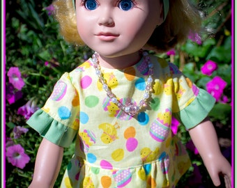 American Girl Dolls fit this Easter Capri Set with Yellow Rose Headband & Matching Sandal Shoes!