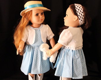 """Light Blue Summer Dress with Bolero & Doll Pet Too; Summer Outfit; for American Girl Style 18"""" Dolls! School or Dress Up Doll Clothes"""