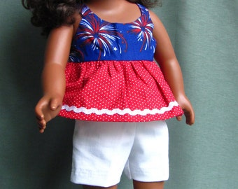 4th of July short outfit for 18 inch dolls fits like American Girl Doll Clothes in red white and blue