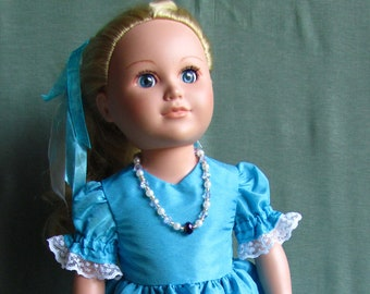 Princess Dress for 18 inch doll in shimmering powder blue with lace and full skirt