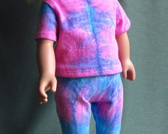 Pink and blue tie-dye t-shirt and leggings fits like American Girl Doll Clothes for 18 inch dolls from repurposed t-shirt