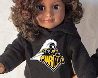 Purdue University Hoodie & Sweatpants fits like American Girl Doll Clothes for Girl or Boy doll! Custom Sweatshirt, Custom School Logos Too!