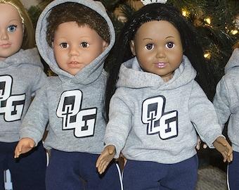 "Custom Colors & Logo on Hoodies for American Girl Doll or American Boy 18"" Doll Clothes Add School Name n Image or Sports Team Name n Logo"