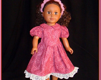 """Elegant Dusty Pink Print Dress w Exquisite Ivory Lace on Hem of Outfit; for American Girl Style 18"""" Dolls! School or Dress Up Doll Clothes"""