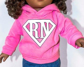 "American Girl Doll Clothing, Hoodies, Sweatshirts, Sweatsuits, Jeans. Custom Nursing ""RN"" Decal Logo"