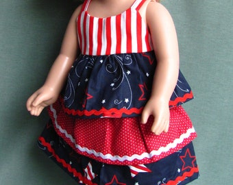 4th of July outfit for American Girl style doll clothes stars and stripes red white and blue shirt and skirt