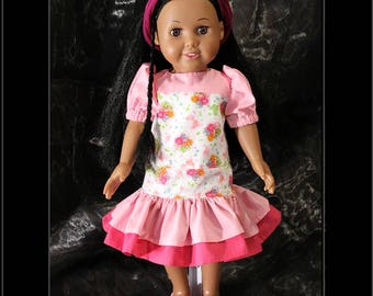 """American Girl Style 18"""" Doll Tunic Style Dress, Pink & Flower Print! Back to School or Dress Up Doll Clothes"""