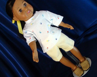 """Tiny Tulips on White with Soft Yellow Shorts; for American Girl Style 18"""" Dolls! School or Playground Doll Clothes"""