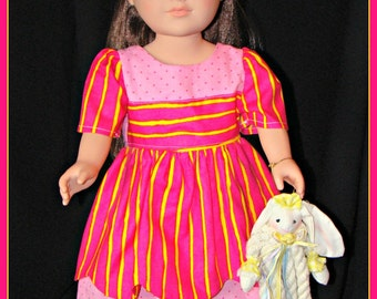"""Hot Pink Dress with Yellow Stripes, Summer Outfit made to fit American Girl Style 18"""" Dolls! School or Dress Up Doll Clothes."""